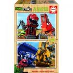 Educa-17270 2 Wooden Jigsaw Puzzles - Dreamworks - Dinotrux
