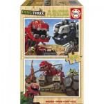 Educa-17271 2 Wooden Jigsaw Puzzles - Dreamworks - Dinotrux