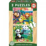 Educa-17616 2 Wooden Jigsaw Puzzles - Animals