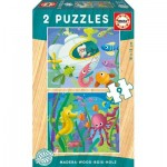Educa-17617 2 Wooden Jigsaw Puzzles - Water Animals