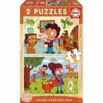 Educa-17618 2 Wooden Jigsaw Puzzles - Animals