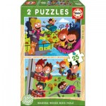 Educa-17620 2 Wooden Jigsaw Puzzles - Funfair