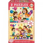 Educa-17621 2 Wooden Jigsaw Puzzles - Happy Birthday