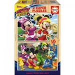 Educa-17622 2 Wooden Jigsaw Puzzles - Mickey and The Roadster Racers