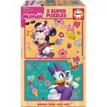 Educa-17623 2 Wooden Jigsaw Puzzles - Minnie