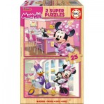 Educa-17625 2 Wooden Jigsaw Puzzles - Minnie