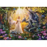 Puzzle  Educa-17696 Dragon, Princess and Unicorn