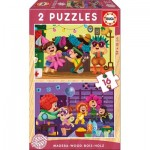 2 Wooden Jigsaw Puzzles - Costumes