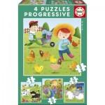 4 Jigsaw Puzzles - Farm Animals