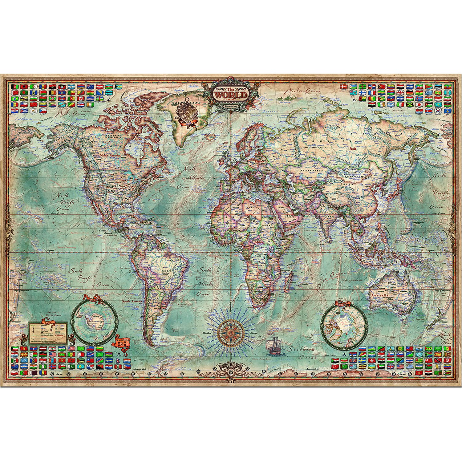jigsaw puzzle 4000 pieces world map educa 14827 4000 pieces jigsaw puzzles world maps and. Black Bedroom Furniture Sets. Home Design Ideas
