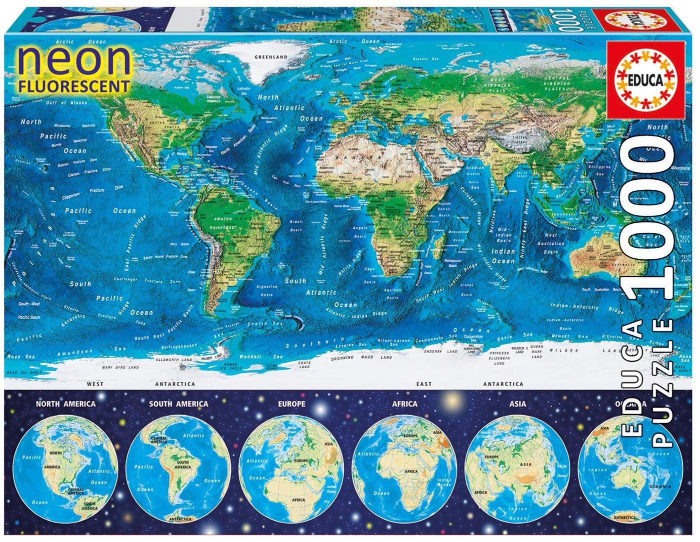 neon jigsaw puzzle world map