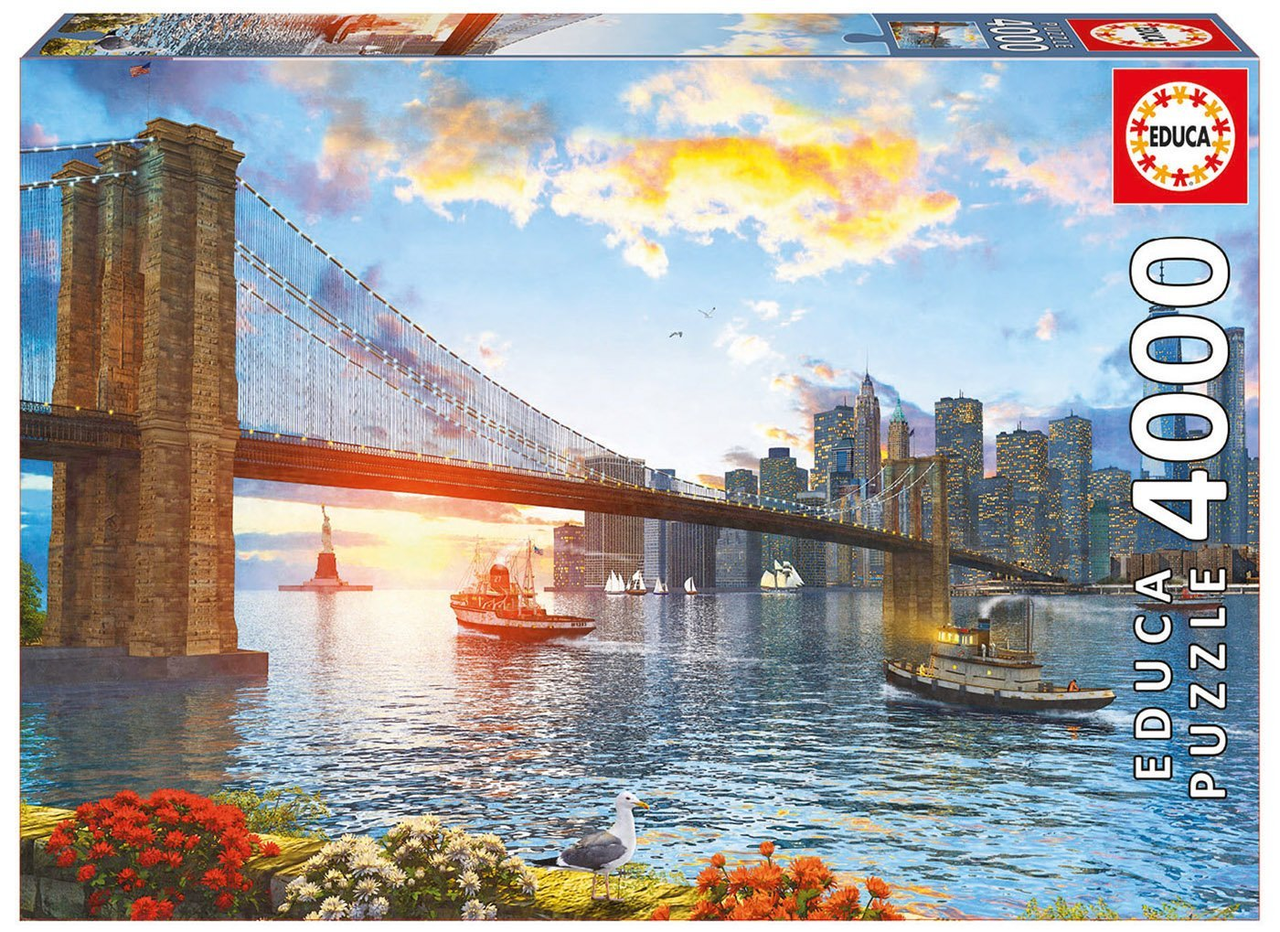 puzzle new york sunset educa 16782 4000 pieces jigsaw puzzles towns and villages jigsaw puzzle. Black Bedroom Furniture Sets. Home Design Ideas