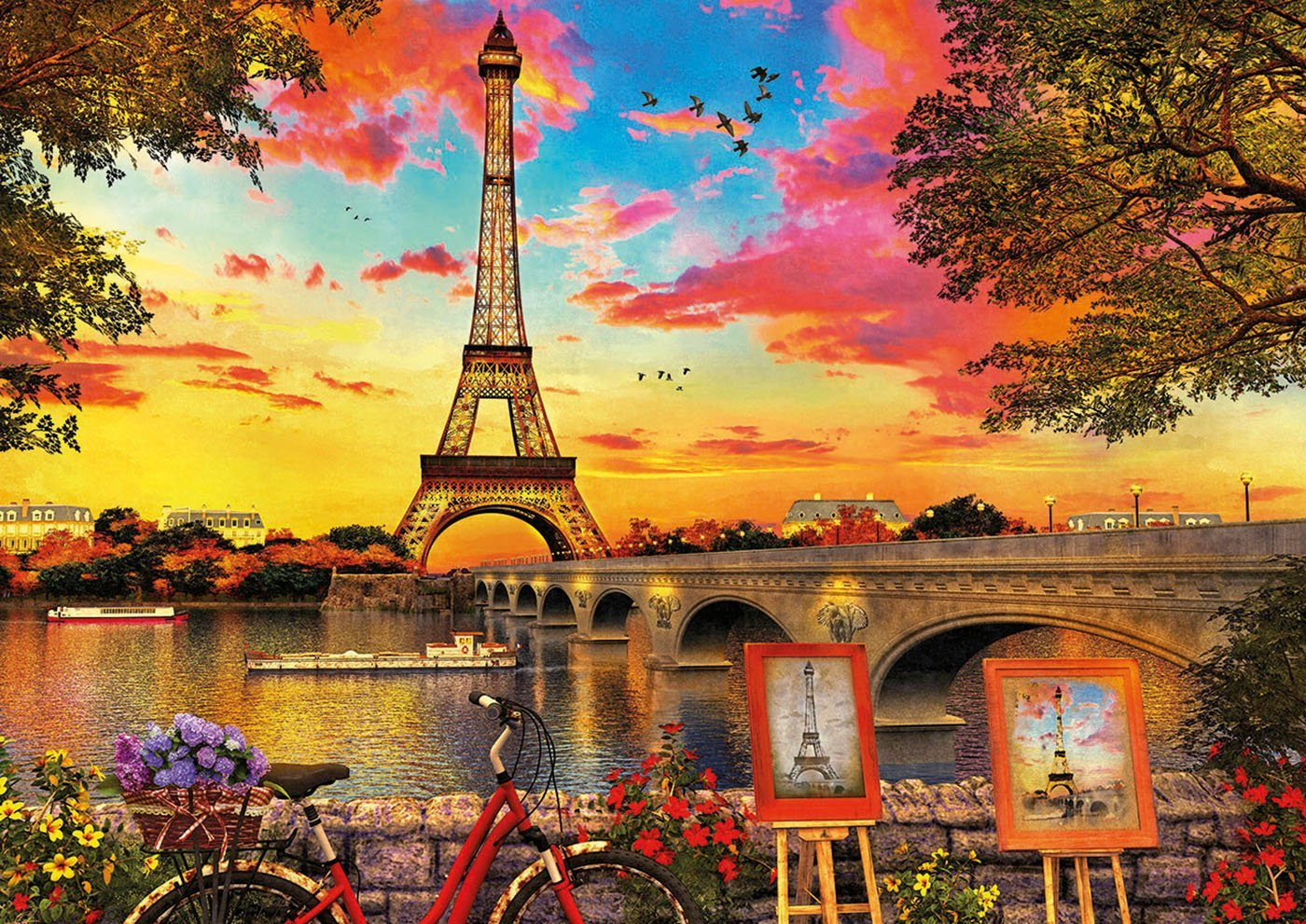 puzzle sunset at paris educa17675 3000 pieces jigsaw
