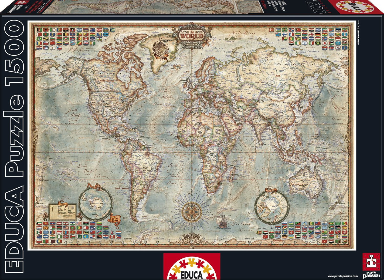 Educa jigsaw puzzles antique world map tomax jigsaw puzzles the world political map gumiabroncs Choice Image