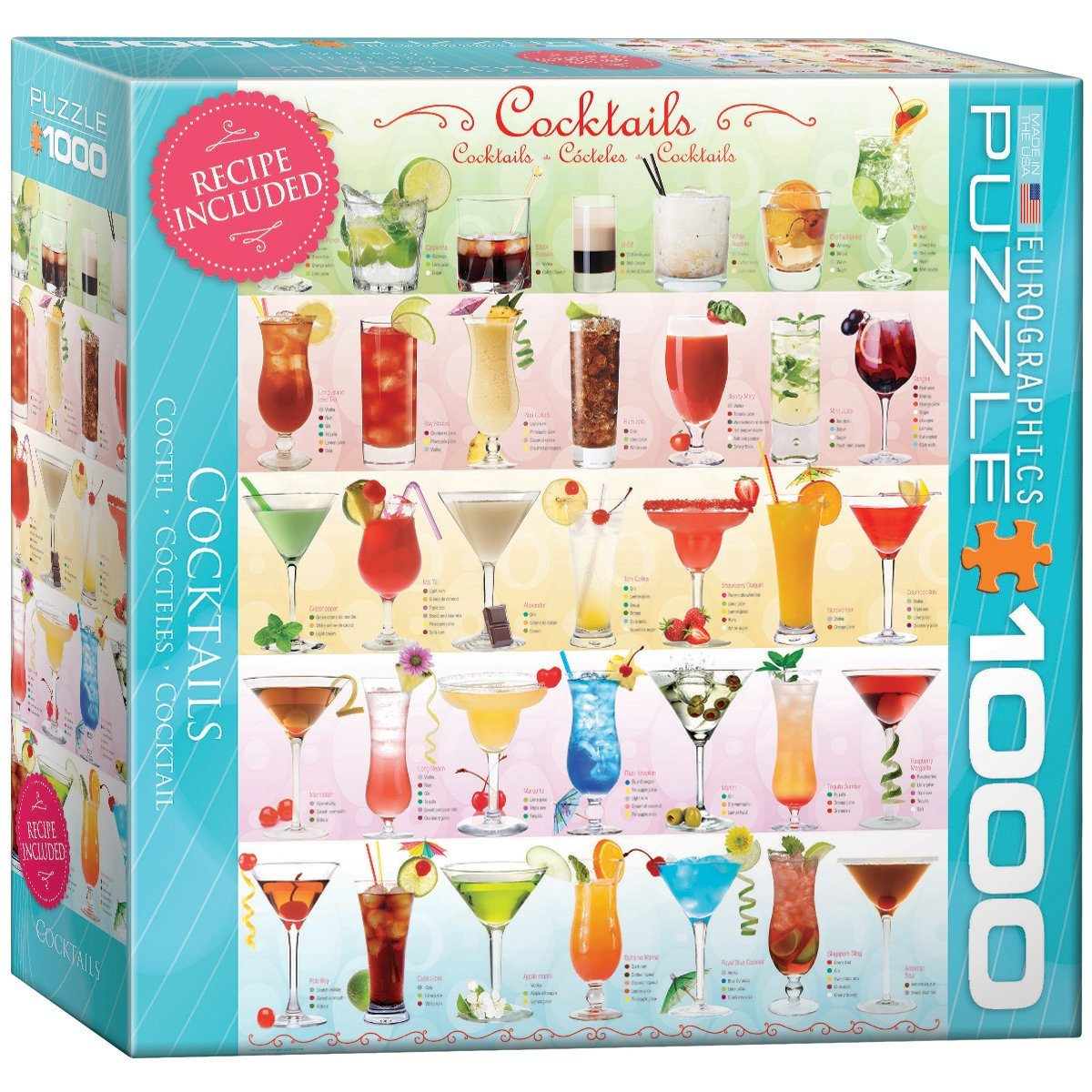 Puzzle cocktails eurographics 8000 0588 1000 pieces jigsaw for Cuisine 8000 euros