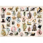 Eurographics-8300-0991 XXL Pieces - Familiy Puzzle: Yoga Kittens