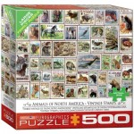 Puzzle   XXL Pieces - Vintage Stamps - Animals of North America