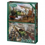 Puzzle  Jumbo-11331 Mail by Rail (2x500 Pieces)