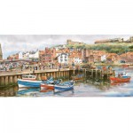 Gibsons-G374 Jigsaw Puzzle - 636 Pieces - Panoramic - Whitby Harbour