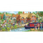 Gibsons-G4016 Jigsaw Puzzle - 636 Pieces - Panoramic - Lunch at the Swan