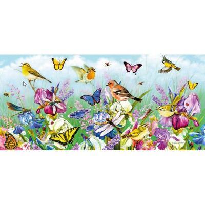 Gibsons-G4019 Jigsaw Puzzle - Panoramic - 636 Pieces : Butterflies and Blooms