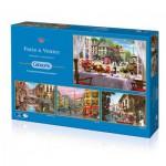 Gibsons-G5039 4 Jigsaw Puzzles - Dominic Davison: Paris & Venice