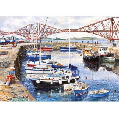 Gibsons-G6089 Jigsaw Puzzle - 1000 Pieces - Queensferry Fishing Harbour