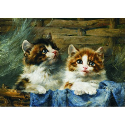 Puzzle Gold-Puzzle-60683 Julius Adam: Two Kittens in a Basket