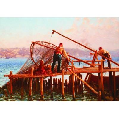 Puzzle Gold-Puzzle-60829 Fausto Zonaro: Fishermen Bringing in the Catch
