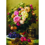 Puzzle  Gold-Puzzle-60904 Jean-Baptiste Robie: Still Life with Roses, Grapes and Plums