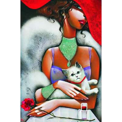 Puzzle Gold-Puzzle-61284 Lady with a Cat