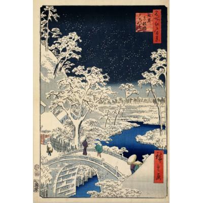 Puzzle Grafika-Kids-00273 Utagawa Hiroshige : Drum bridge at Meguro and Sunset Hill, 1857