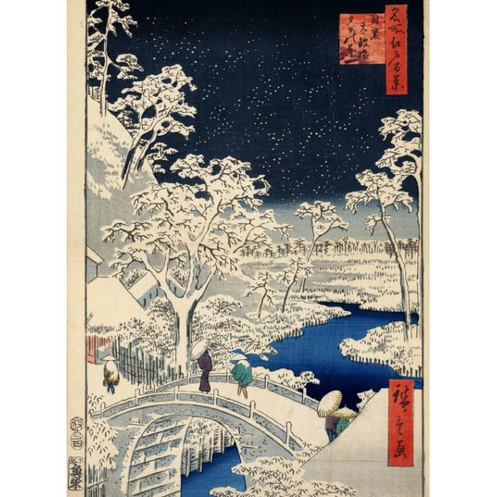 Utagawa Hiroshige : Drum bridge at Meguro and Sunset Hill, 1857