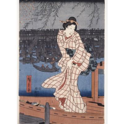 Puzzle Grafika-Kids-00283 Utagawa Hiroshige: Evening on the Sumida River, 1847-1848