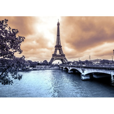 Puzzle Grafika-Kids-00382 Magnetic Pieces - Eiffel Tower from Seine. Winter rainy day in Paris