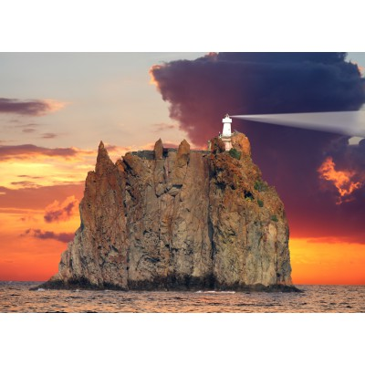 Puzzle Grafika-Kids-00412 Magnetic Pieces - Stromboli Lighthouse, Italy