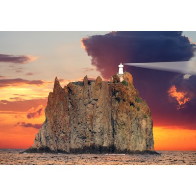 Puzzle Grafika-Kids-00413 XXL Pieces - Stromboli Lighthouse, Italy