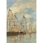 Puzzle  Grafika-Kids-01094 Eugène Boudin - Yacht Basin at Trouville-Deauville, 1895/1896