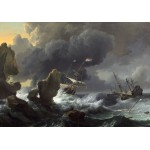 Puzzle  Grafika-Kids-01282 Ludolf Backhuysen: Ships in Distress off a Rocky Coast, 1667