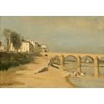 Puzzle  Grafika-Kids-01347 Jean-Baptiste-Camille Corot: Bridge on the Saône River at Mâcon, 1834