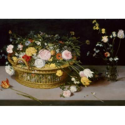 Puzzle Grafika-Kids-02045 Jan Brueghel - Flowers in a Basket and a Vase, 1615
