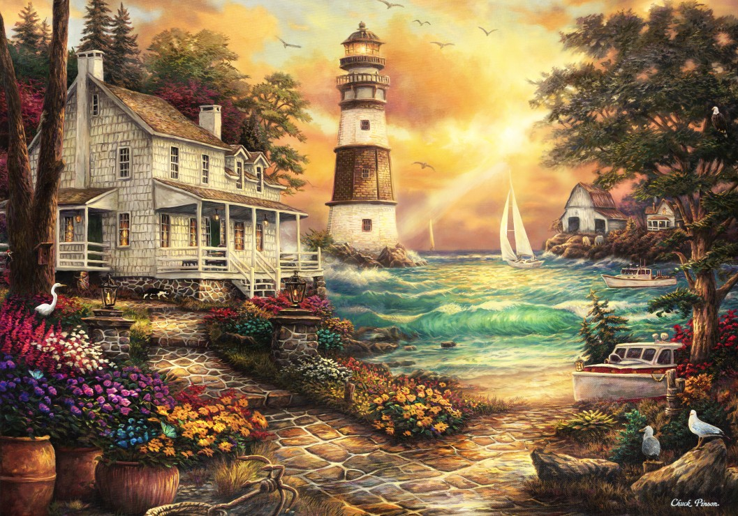 Chuck Pinson - Cottage by the Sea 1000 piece jigsaw puzzle