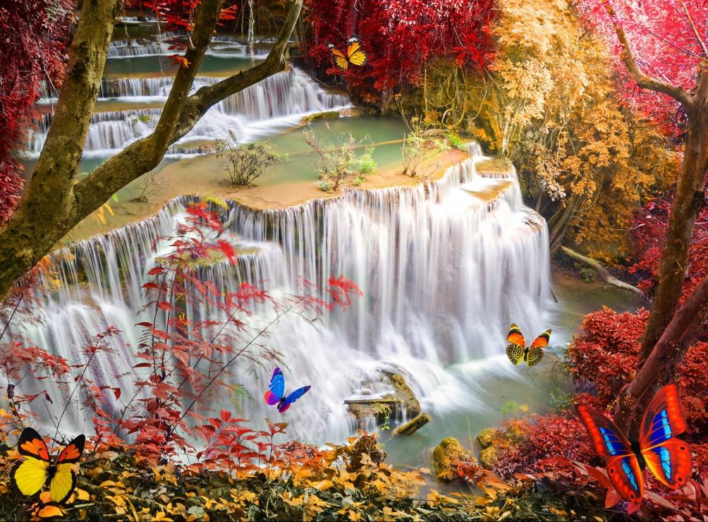 Deep Forest Waterfall 2000 piece jigsaw puzzle