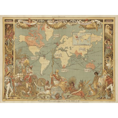 Puzzle Grafika-00327 Walter Crane: The British Empire, 1886