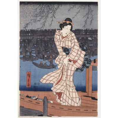 Puzzle Grafika-00771 Utagawa Hiroshige: Evening on the Sumida River, 1847-1848