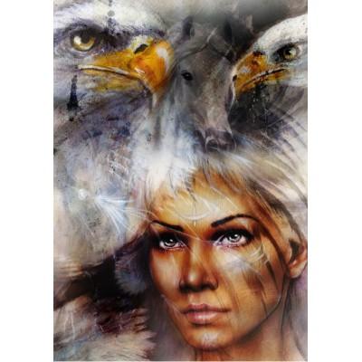 Puzzle Grafika-00785 Woman, Eagle and Horse