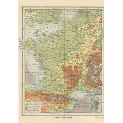 Puzzle Grafika-01226 Map of France - Larousse, 1925