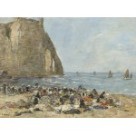 Puzzle  Grafika-01599 Eugène Boudin: Washerwomen on the Beach of Etretat, 1894