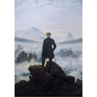 Puzzle Grafika-01718 Caspar David Friedrich - Wanderer above the sea of fog, 1818