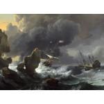 Puzzle  Grafika-01779 Ludolf Backhuysen: Ships in Distress off a Rocky Coast, 1667